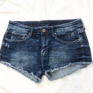H&M &Denim blue jean shorts distressed frayed 6